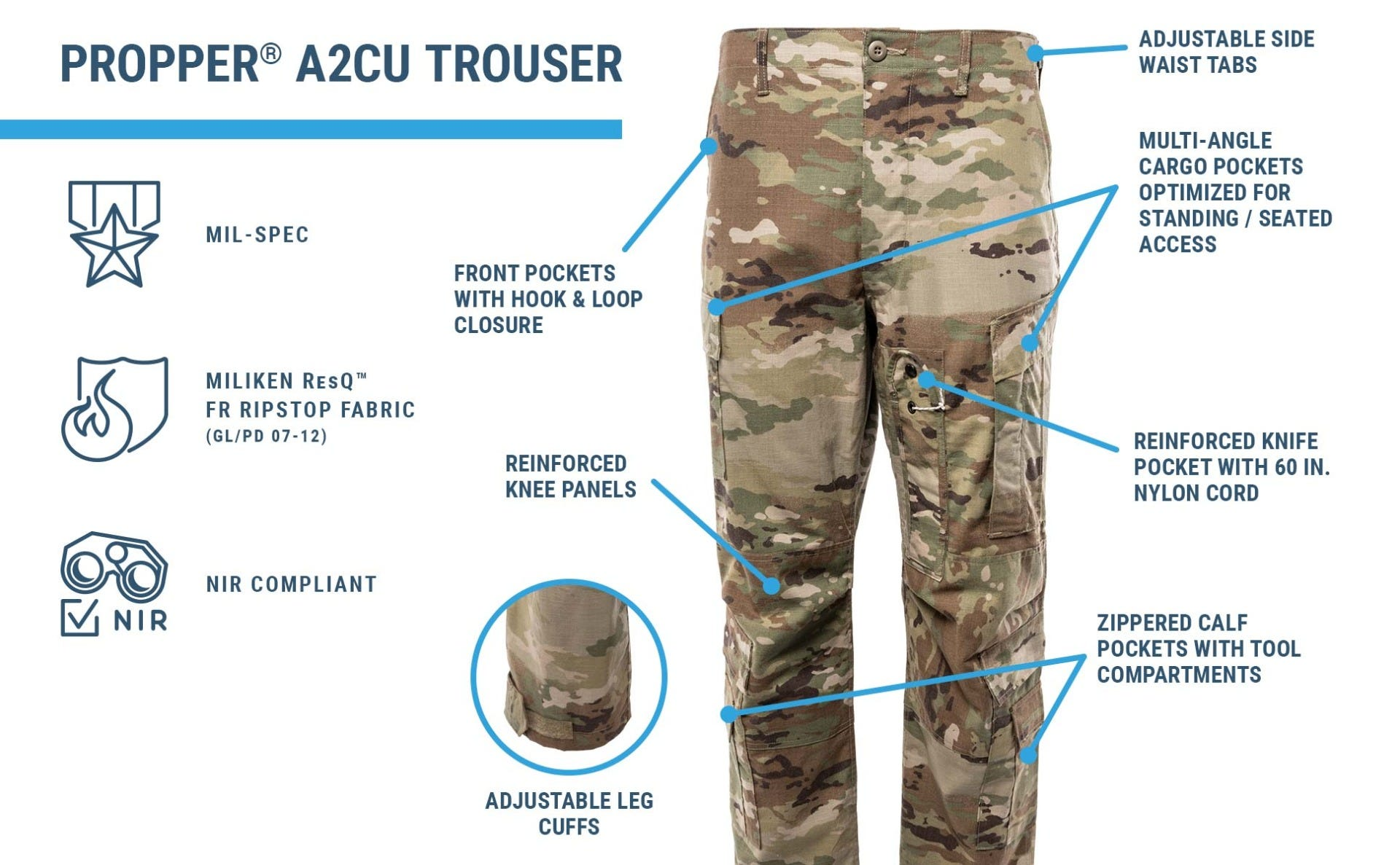 Two piece flight suit pant in OCP with reinforced knees, zipper calf pockets, knife cord