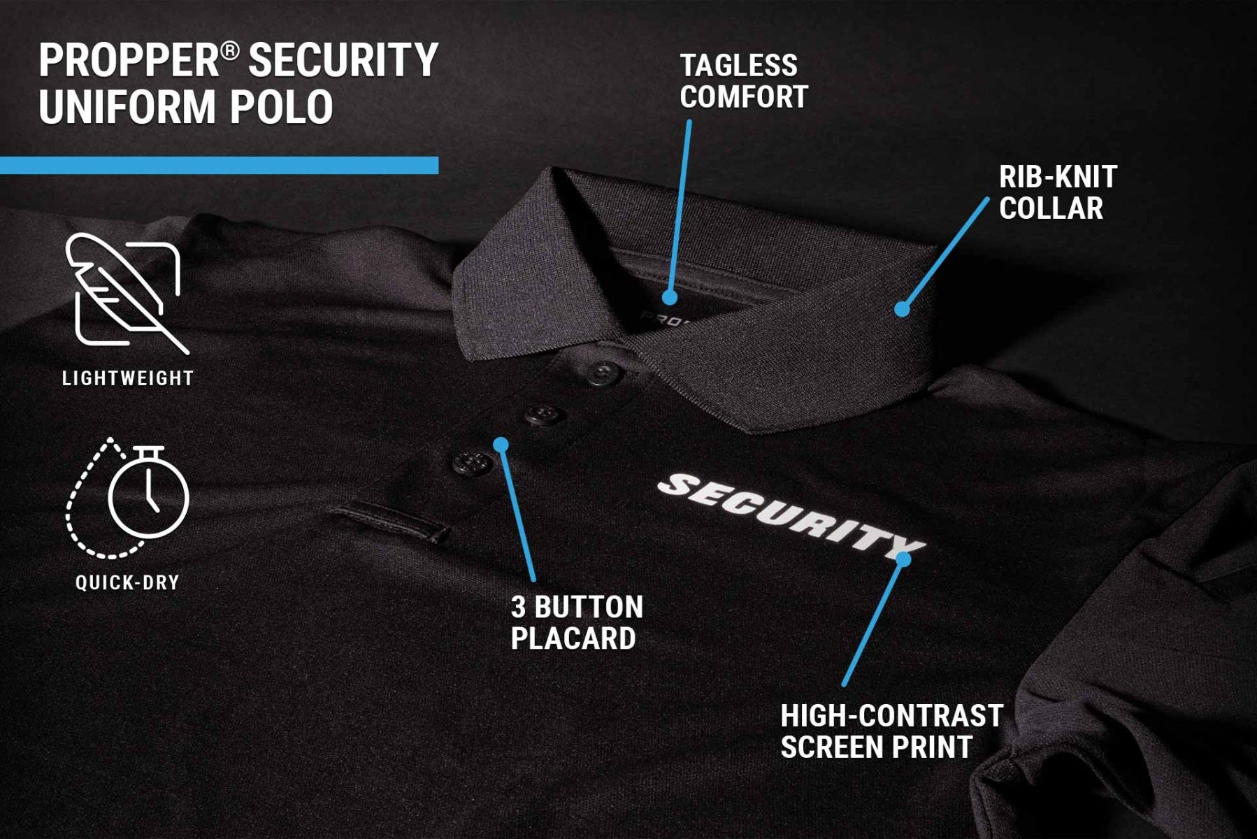 Screenprinted security polo with pen pocket, mic or sunglass clip and quick drying for event staff, undercover up to 5XL.
